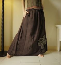 Autumns Beauty - Applique Dark Chocolate Brown Cotton Long Skirt With Elastic Waist And Side Pockets.  via Etsy.