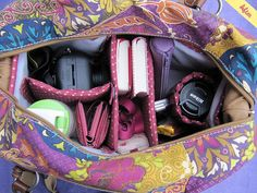 homemade camera bag. used camping mat, fabric, and velcro for dividers.