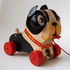 "Vintage Fisher Price ""Barky"" wooden dog pull toy with red wheels Jouets Fisher Price, Fisher Price Toys, Vintage Fisher Price, Retro Toys, Vintage Toys, 1950s Toys, Boston Terrier Art, Baby Boomer, Pull Toy"