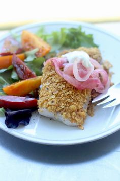 Tortilla-Crusted Tilapia With Pickled Red Onions and Crema
