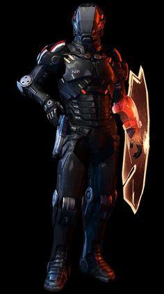Robot Concept Art, Armor Concept, Weapon Concept Art, Arte Ninja, Arte Robot, Mass Effect Characters, Sci Fi Characters, Futuristic Armour, Futuristic Art