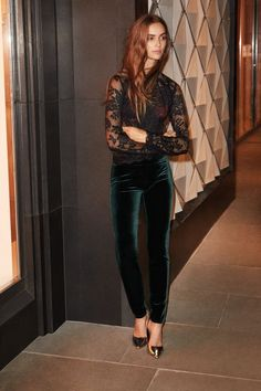 Love the velvet velours pants with the lace top. Love that the pants look  like they have a pit of stretch eb1788bda