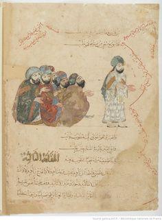 Folio 6 Verso: maqama 02. Abu Zayd recognized by al-Harith