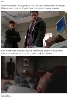 """The interesting thing is that sam is supposed to be the """"good"""" one he knows what to say to people to comfort them. Dean is more interested in fixing the problem. But in a way dean is the """"good"""" one."""