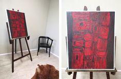 Liebe Vintage-Freunde, wie wäre es mit einem dekorativen Öl-Gemälde aus den 60er/70er Jahren? Rote Formen auf schwarzen Hintergrund, weiß eingefasst. Das Bild ist nicht signiert, kein Maler bekannt. Besonders in Gesellschaft mehrerer Bilder würde sich dieses Öl-Bild gut machen, weil es nicht so aufträgt und trotzdem ausdrucksstark ist. #MidCenturyBild #Öl-Bild #Öl-Gemälde #VintageBild #ÖlBild #ÖlGemälde 70erJahreBild #60erJahreBild #VintageMöbel #VintageFurniture #RetroFurniture #RetroBild