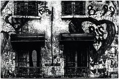 Michael Goro: Rue Véron, copper etching/engraving, 24 x 18 in, 61 x 46 cm. Printed at Chicago Printmakers Collaborative.