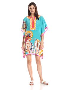 Trina Turk Women's Theodora Mosaci Paisley Kaftan Dress, Multi, X-Small/Small. Kaftan. Border print.