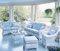 Soft blues and whites, florals and stripes~so pretty.  http://www.lowes.com