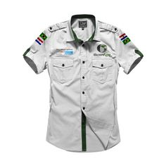 Modelo Uniforme SiderAgro 2015 Cargo Shirts, Golf T Shirts, Boys Shirts, Military Fashion, Military Shirt, Men Shirt, Mens Fashion, Casual Shirts, Casual Outfits