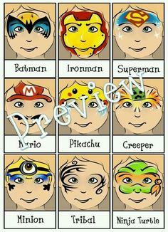 Face Painting Menu 4 Page Bundle Digital par PatchesTheClown Face Painting Tips, Face Painting For Boys, Face Painting Designs, Painting Patterns, Paint Designs, Body Painting, Face Paintings, Superman Face Painting, Batman Face Paint
