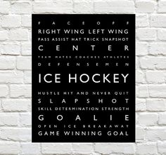 Ice Hockey by PaperWallDesign - Sports Decor - Ice Hockey Typography Prints can be Personalized to include your Athletes Name. Motivational words to celebrate and inspire your player. Explore our entire collection of Sports Typography Prints to celebrate the Athlete in your life. #Icehockey