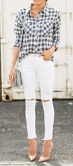 Black and white gingham shirt, white distressed skinnies, grey handbag, and nude heels