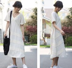 Extra Long Loose and Flowing Dress with Cloth Stripes/ by Ramies