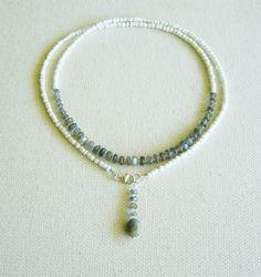 Collar Labradorita, cuentas cristal checo