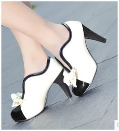 Women new fashion spring summer 2015 high-heeled pumps bow ankle color block decoration shoes large plus size 40-43