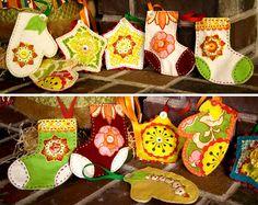 Bits and Pieces Felt Ornaments Sewn Christmas Ornaments, Fabric Ornaments, Handmade Ornaments, Felt Christmas, Felt Ornaments, Handmade Christmas, Christmas Crafts, Christmas Holidays, Christmas Ideas