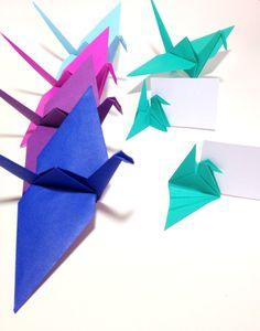 Origami Cranes, Origami Garlands, Origami Photo Backdrop, Wedding Place Cards, Wedding Reception Decor, Bright Color Origami Cranes by FlyingCraneOrigami on Etsy