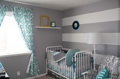 Oliver's Grey, White & Turquoise Nursery on Project Nursery Baby Boy Rooms, Baby Boy Nurseries, Kids Rooms, Baby Room, Nursery Room, Girl Nursery, Gray Striped Walls, Turquoise Nursery, Crib Wall