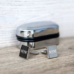 Silver Engraved Cufflinks And Box