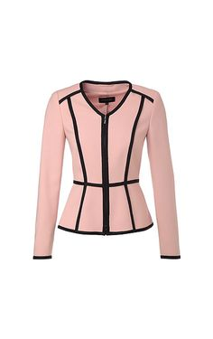 Elegant blazer-style jacket from ESCADA. The fashionable V-neckline and knit borders in a contrasting color give this piece a unique twist. The fitted design and light shoulder padding accentuate the classic, feminine silhouette.#MODELFIT: The model is wearing a size 34 with a height of 70.1 '' and a waist circumference of 24.4 ''.#Knit borders in a contrasting color|Fitted cut|V-neckline|Full-length, concealed in-seam zipper placket|Light shoulder padding - $  1,595.00