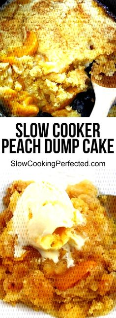 A delicious slow cooker peach dump cake recipe.You can find Crockpot cake recipes and more on our website.A delicious slow cooker peach dump cake recipe. Crockpot Cake Recipes, Dump Cake Recipes, Slow Cooker, Peach, Website, Cooking, Breakfast, Food, Cake Recipes