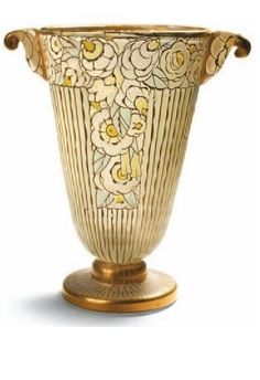 Auguste Claude Heiligenstein (French, 1891–1976)    Vase  glass, polychrome, htnd w/ gold