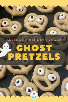 Quick and easy allergy-friendly, gluten free and vegan Halloween ghost pretzels. A fun and tasty snack to make with the kids this Halloween.