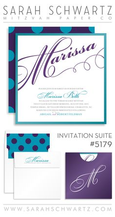 Elegant purple Bat Mitzvah invitation suite with polka dots