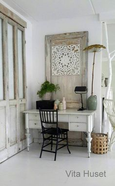 antique desk, vintage door and gorgeous closet doors!