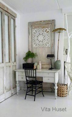 antique desk, vintage door and gorgeous closet doors!