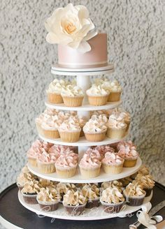 Pink Wedding Cakes Daily Wedding Cake Inspiration (NEW!) - MODwedding - Here is another gorgeous collection of wedding cake inspiration for a sweet and unique dessert table come your big day. Wedding Cakes With Cupcakes, Cupcake Wedding Display, Cupcake Tower Wedding, Cupcake Display, Wedding Cake Inspiration, Wedding Ideas, Daily Inspiration, Wedding Planning, Mod Wedding