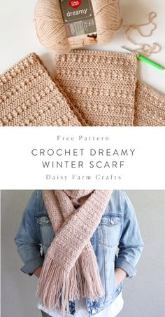 Free Pattern - Crochet Dreamy Scarf Free Pattern - Crochet Dreamy Scarf<br> I think this is going to be really fun to experiment and play with Red Heart Yarn! One Skein Crochet, Crochet Scarves, Crochet Stitches, Crochet Hooks, Diy Crochet Scarf, Crochet Beanie, Hand Crochet, Crochet Gratis, Easy Crochet Patterns