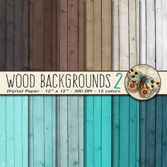 Wood Digital Paper, Wood Background Paper, Wood Textures in Teal and Brown, Wood Photo Backdrops #scrapbooking #shabbychic