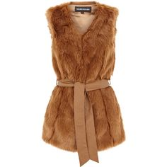Faux Fur Belted Gillet (735 UAH) ❤ liked on Polyvore featuring outerwear, vests, coats, fur, jackets, women, brown faux fur vest, brown waistcoat, brown vest and faux fur vest