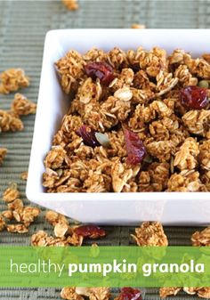 Crunchy pumpkin granola is the perfect healthy snack for a family on the go.