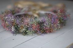 tie back floral crown,toddler crown,fairy,princess,maternity prop,dried flowers wreath, Dried Baby Breath Wreath