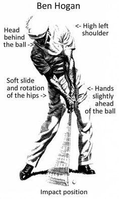 Impact position #golfinstructions #GolfingTips #AwesomeGolfTips #ImportantThingsYouNeedToKnowInGolf Ben Hogan Golf Swing, Golf Etiquette, Golf Breaks, Golf Pictures, Golf Images, Art Pictures, Golf Videos, Golf Instruction, Golf Tips For Beginners