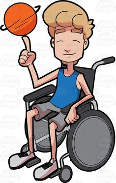 A male basketball athlete spins a ball while in his wheelchair #cartoon #clipart #vector #vectortoons #stockimage #stockart #art