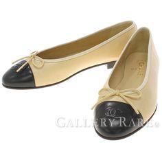 シャネル パンプス ココマーク リボン バレリーナシューズ レディースサイズ38 1/2 G02819 CHANEL 靴 フラットシューズ バイカラー