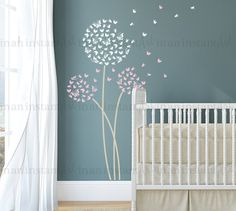 Dandelion Wall Decal, Butterfly Dandelion Wall Decal with Flying Butterflies for Nursery, Kids or Childrens Room 034