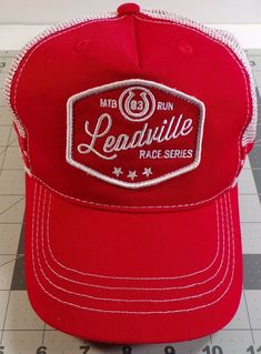 meet 1ba3f 416a4 Leadville Snapback Trucker Red and White Hat MTB 83 Run Race Series   fashion  clothing