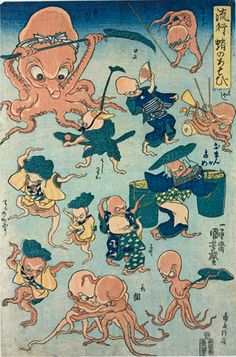 """Graphic Heroes Magic Monsters: Japanese Prints by Utagawa Kuniyoshi from the Arthur R. Miller Collection: Image Galleries: Multimedia: Japan Society  """"Octopus Games"""" ~ 1840-42"""