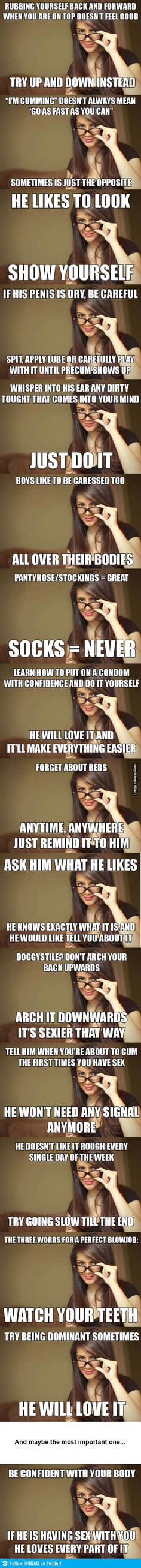 Actual Sexual Advice Girl compilation FOR GIRLS - all true except for the sock one.