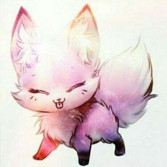 Hello my name is Luana . But diganmen Neko: My favorite animal is the black wolf (although whites like me . Cute Kawaii Animals, Cute Cartoon Animals, Anime Animals, Cute Little Animals, Cute Fox Drawing, Cute Wolf Drawings, Cute Animal Drawings Kawaii, Cute Fantasy Creatures, Mythical Creatures Art