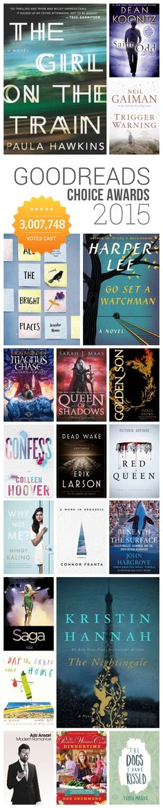 A list of the winners of the 2015 Goodreads Choice Awards, the only major book awards decided by readers. Harper Lee, Paula Hawkins, Neil Gaiman, Mindy Kaling, Kristin Hannah, and more.