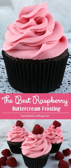 The Best Raspberry Buttercream Frosting - delicious buttercream frosting flavored with deliciously fresh Raspberries. Light and fresh with just a hint of tart, this yummy homemade butter cream frosting will take whatever you are baking to the next level. Food Cakes, Cupcake Cakes, Cup Cakes, Baking Cakes, Pink Cakes, Bread Baking, Raspberry Buttercream Frosting, Pink Frosting, Buttercream Recipe