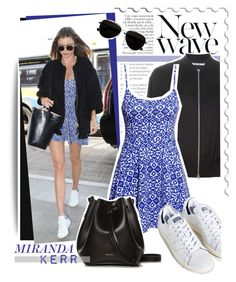 """""""Miranda Kerr in H&M printed dress"""" by anne-mclayne ❤ liked on Polyvore featuring Anja, Kerr®, T By Alexander Wang, Calvin Klein, H&M, adidas and Rachael Ruddick"""