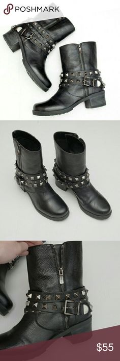 BCBG Real Leather Moto Studded Boots Adorable yet edgy BCBG Generation genuine leather moto boots.? Very nice lightly worn condition.? Gorgeous smooth black leather paired with chunky silver pyramid studs and flashy side zipper.  Size 8 / 38.  #bcbg?#bcbgeneration?#bcbgmaxaria?#boots#genuineleather?#leather?#moto?#motorcycle?#edgy#punk?#rocker?#trendy?#winter?#tumblr?#minimal#minimalist?#versatile?#casual BCBGeneration Shoes Combat & Moto Boots