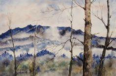 """""""Górskie mgły"""" akwarela A4"""