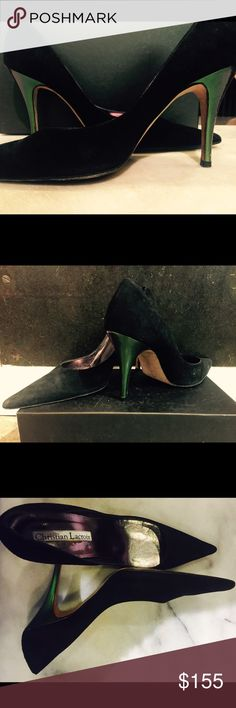 Christian Lacroix Black Suede Pointed toe heels. Christian Lacroix . Black suede, slight green iridescent heel, pointed toe high heel. Size 40. Gently worn, scuffing on souls. Good pre-owned condition. Christian Lacroix Shoes Heels
